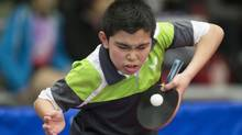 Jeremy Hazin plays a shot at the Canada Series Table Tennis tournament semi finals in Mississauga, ON on Saturday March 2, 2013. (CHRIS YOUNG FOR THE GLOBE AND MAIL)