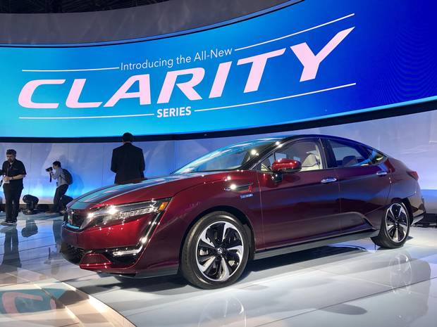 The Honda Clarity is introduced at the New York auto show.