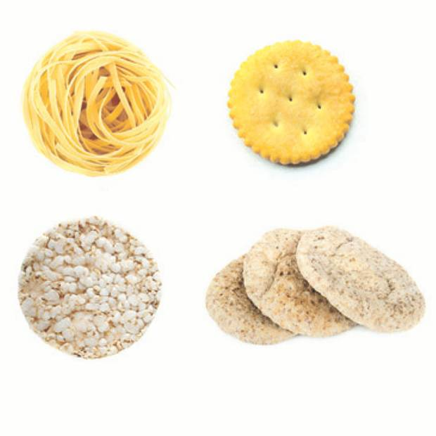 Noodles, crackers, mini pitas, rice cakes