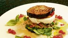 Massimo Capra's quinoa and eggplant 'sandwich' (Kevin Van Paassen / The Globe and Mail)