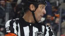 NHL referee Mike Hasenfratz will officiate his first Canadian game in two years on Saturday after a rare heart affliction kept him off the ice. (Photo by Bruce Bennett/Getty Images) (Bruce Bennett/Getty Images)