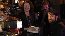 Chef Rene Redzepi, right, of Danish restaurant Noma, which won top honours on the World's Best Restaurant list, talks to members of the media after the awards in London on Monday, April 30, 2012. (Lefteris Pitarakis/Associated Press)