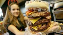 One of the burgers on offer at the Heart Attack Grill in Las Vegas. (AP)