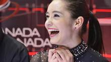 Kaetlyn Osmond reacts her her results after her short program during the 2013 Canadian Figure Skating Championships in Mississauga, Ont., on Friday, January 18, 2013. (Nathan Denette/THE CANADIAN PRESS)