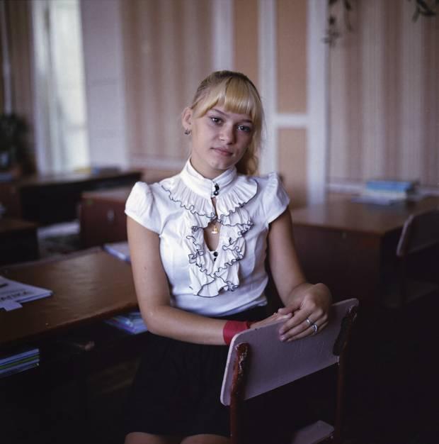 Snezhana Pusova poses for a photo in her classroom at Raivka Internat in Raivka, Ukraine on September 8, 2016.