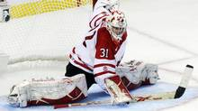 Canada's goaltender Olivier Roy makes a save against Russia during the third period of their game at the IIHF World Junior Championships in Buffalo, New York December 26, 2010. (BRENDAN MCDERMID)