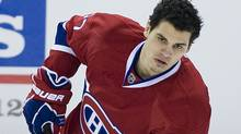 Montreal Canadiens' Rene Bourque warms up prior to an NHL hockey game against the New York Rangers in Montreal, Sunday, January 15, 2012 (The Canadian Press)