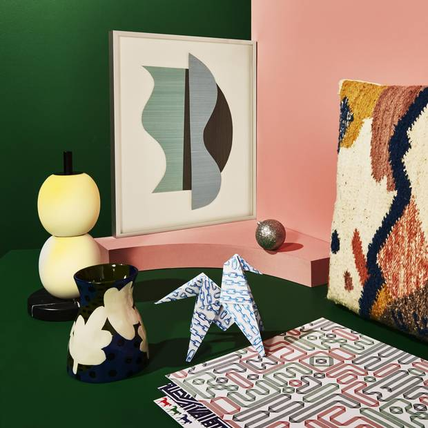Mainkai table lamp by Sebastian Herkner, $2,100 at Avenue Road. Sharp (2014) by Jessica Groome, $1,250 at Erin Stump Projects. Minna Cartographer Pillow, $275 at Souvenir. Bis Repetita placemats, $145 at Hermés. Bold Blooms vase, $28 (U.S.) at Anthropologie.