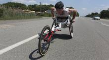 Canadian Paralympic athlete Josh Cassidy trains in his racing wheelchair in the Oakville area on June 20, 2012 getting ready for competition. (Deborah Baic/The Globe and Mail)