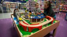 Cherie McFadyen plays with her one-year-old daughter Elysia Joseph at the new Toys R Us Wonderlab store in North Vancouver, B.C., on Tuesday May 23, 2013. (DARRYL DYCK For The Globe and Mail)