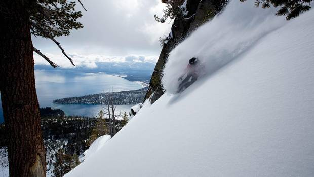 Jeremy Jones rides the west shore of Lake Tahoe backcountry.