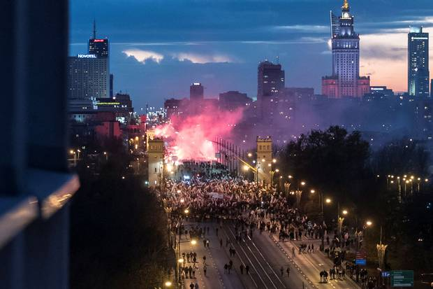Nov. 11, 2017: Far-right groups organize a rally in Warsaw for Poland's Independence Day celebrations.