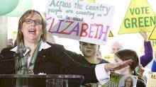 Green Party Leader Elizabeth May speaks to party supporters during the kick-off of her national election campaign in Saanichton, B.C. (Deddeda Stemler/The Canadian Press)