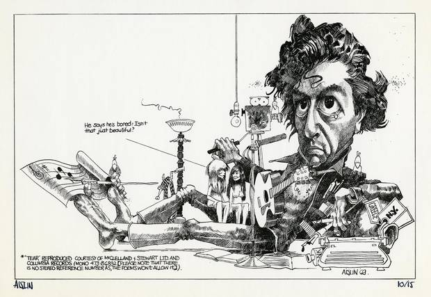 This illustration of Leonard Cohen by Aislin appeared in the Montreal Star on Jun. 21, 1969.