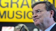 Finance Minister Jim Flaherty speaks to reporters at a music store in Ottawa on March 23, 2011. (FRED CHARTRAND/THE CANADIAN PRESS)