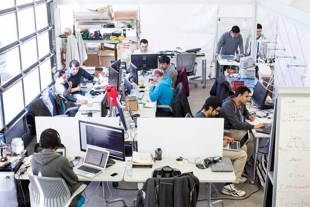 The scene at start-up incubator Velocity Garage.