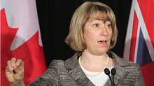 Ontario Education Minister Laurel Broten addresses a news conference in Toronto, Monday, April 9, 2012. With contracts expiring in August, Broten appealed to elementary school teachers to return to a provincial discussion table to help set the framework for negotiations. (Colin Perkel/THE CANADIAN PRESS)