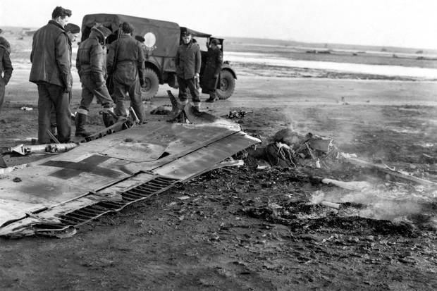 The remains of a German plane that took part in the Jan. 1, 1945, raid at Eindhoven airport.