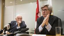 Peter Munk, left, and John Thornton, right, sparked outcry when details of their pay packages emerged. (Chris Young For The Globe and Mail)