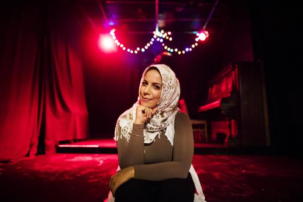 Salma Hindy poses for a portrait before performing at the Cameron House Comedy night in Toronto on Monday July 24, 2017.