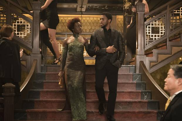 Lupita Nyong'o, left, and Chadwick Boseman in a scene from Marvel Studios' Black Panther.