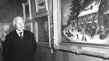 Circa 1961. Hon. Marshall Menzies Porter of Calgary, Alberta, at the Beaverbrook Art Gallery in Fredericton, New Brunswick
