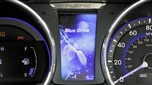 The Hybrid Blue Drive features a parallel-hybrid drive system that will move the car on solely electric power or with a combination of gas and electric power. (Hyundai)