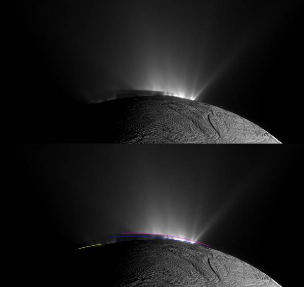While coming up on Saturn's small icy moon, Enceladus, Cassini observed jets of material shooting out from a region near the moon's south pole.