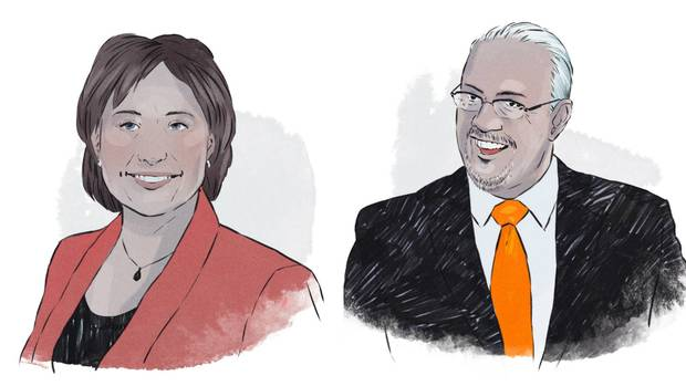 BC Liberal Leader Christy Clark, left, and B.C. NDP Leader John Horgan.