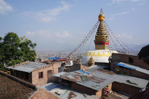 The area around Swayambhunath stupa, a Buddhist monument in Kathmandu, is still under reconstruction, after surrounding buildings were damaged in the 2015 earthquake.