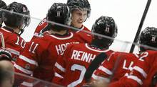 Canada's Anthony Mantha celebrates his penalty shot goal against Switzerland during the second period of their IIHF World Junior Championship ice hockey game in Malmo, Sweden, January 2, 2014. (ALEXANDER DEMIANCHUK/REUTERS)