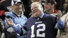 Toronto Mayor Rob Ford watches the CFL eastern final football game between the Toronto Argonauts and the Hamilton Tiger Cats in Toronto on Nov. 17, 2013. (FRED THORNHILL/REUTERS)