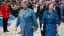Canadian International Trade Minister Pat Carney leads British Prime Minister Margaret Thatcher through the Plaza of Nations at Expo 86 in Vancouver on July 12, 1986. Thatcher's spokesman, Tim Bell, said the former prime minister died from a stroke Monday morning at the Ritz hotel in London. THE CANADIAN PRESS/Chuck Stoody (Chuck Stoody/THE CANADIAN PRESS)