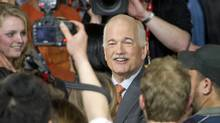 NDP Leader Jack Layton greets supporters in Toronto after his party surged to Official Opposition status in the May 2, 2011 federal election. (Kevin Van Paassen/Kevin Van Paassen/The Globe and Mail)