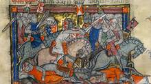 King Arthur (middle) is depicted fighting Saxons on horseback in an illustration contained in the Rochefoucauld Grail, in a recent undated photo released in London. (HO/Reuters)