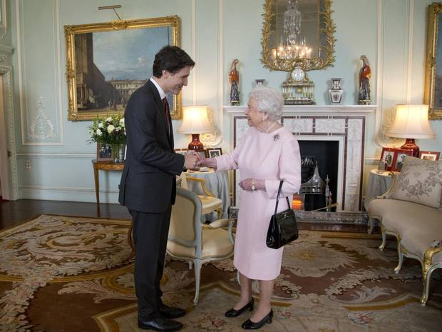 Justin Trudeau meets the Queen during a private audience at Buckingham Palace on Nov. 25, 2015.