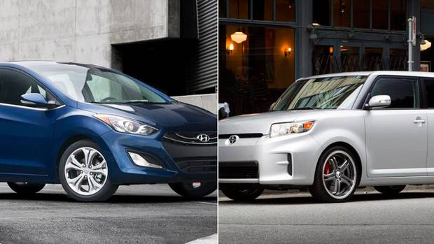 A 2013 Hyundai Elantra GT (L) and a 2012 Scion xB