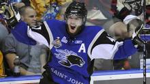 Saint John Sea Dogs defenceman Simon Despres celebrates his goal against the Mississauga St. Michaels Majors during the first period of their Memorial Cup final ice hockey game in Mississauga May 29, 2011. REUTERS/Mike Cassese (Mike Cassese/Reuters)