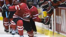 Team Canada's defenceman P.K. Subban celebrates the goal of teammate John Tavares during first period world junior hockey exhibition action against Team Sweden on Friday, Dec. 19, 2008. The 2009 world junior hockey championship are being held Dec. 26 to Jan. 5 in Ottawa. (Nathan Denette)