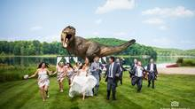 Jeff Goldblum (centre) and wedding party in Huntsville, Ont. (Adam Biesenthal)