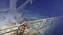 The Titanic Bow from the starboard side is shown in these handout photos taken Saturday Aug. 28, 2010. Cutting-edge and 3D technology have helped to produce this picture -- the clearest to date. (Premier Exhibitions Inc - Woods Hole Oceanographic Institution/The Canadian Press)