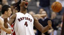 Toronto Raptors forward Chris Bosh reacts after a basket against the Chicago Bulls during the second half of their NBA basketball game in Toronto, November 11, 2009. (MIKE CASSESE)