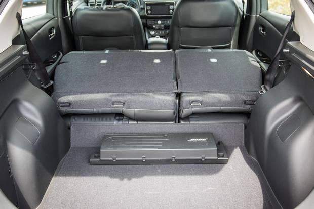 A folding rear seat gives the Leaf excellent cargo capacity.