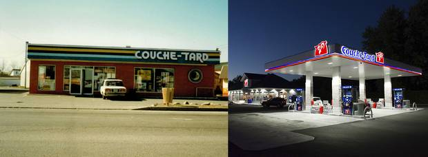 Couche-Tard as it looked back in 1980, when the chain was founded, and Couche-Tard today