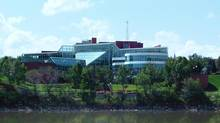 A view of Medicine Hat, Alta.'s city hall from across the South Saskatchewan River on May 21, 2004. (Darcy Henton/CP)