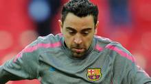 Barcelona's Spanish midfielder Xavi Hernandez practices during a training session on the eve of the UEFA Champions League final football match FC Barcelona vs. Manchester United, on May 27, 2011 at Wembley stadium in London. Getty Images/ FRANCK FIFE (FRANCK FIFE/Getty Images)