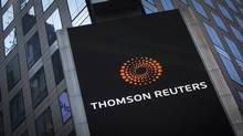 The Thomson Reuters logo is seen on the company building in Times Square, New York October 29, 2013. (Carlo Allegri/Reuters)