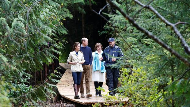 From right to left: Catherine, Duchess of Cambridge; Prince William; and British Columbia Premier Christy Clark listen to a conservation officer during a tour of the Great Bear Rainforest in Bella Bella, B.C., during William and Catherine's visit to the province in September.