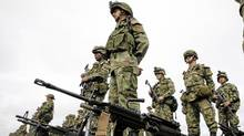 Colombian soldiers stand in formation at the military fort in La Macarena, Meta department, Colombia. (STR/STR/AFP/Getty Images)