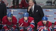 Montreal Canadiens head coach Michel Therrien considers his forward lines during a recent home game against the Boston Bruins on March 12, 2014. (Paul Chiasson/The Canadian Press)